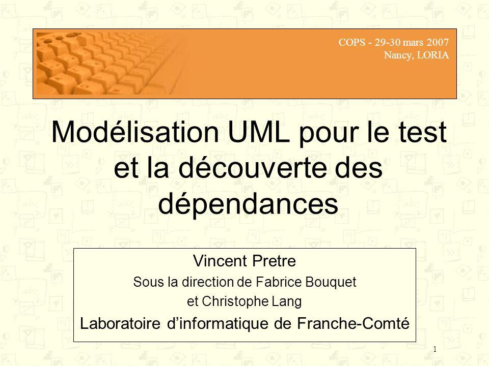 1 Modélisation UML pour le test et la découverte des dépendances Vincent Pretre Sous la direction de Fabrice Bouquet et Christophe Lang Laboratoire di