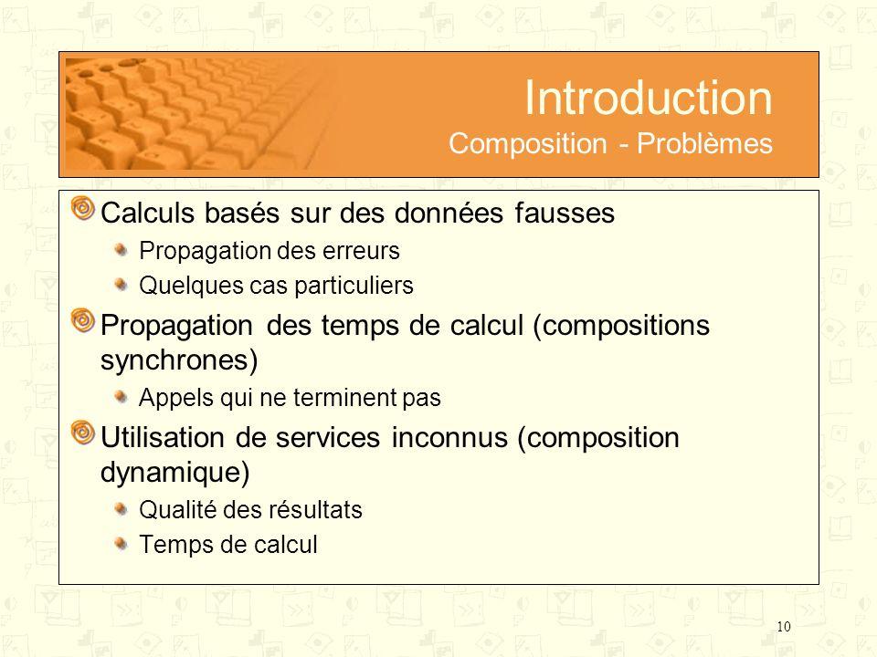 10 Introduction Composition - Problèmes Calculs basés sur des données fausses Propagation des erreurs Quelques cas particuliers Propagation des temps