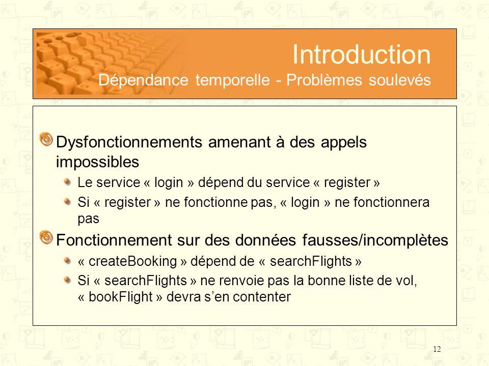 12 Introduction Dépendance temporelle - Problèmes soulevés Dysfonctionnements amenant à des appels impossibles Le service « login » dépend du service