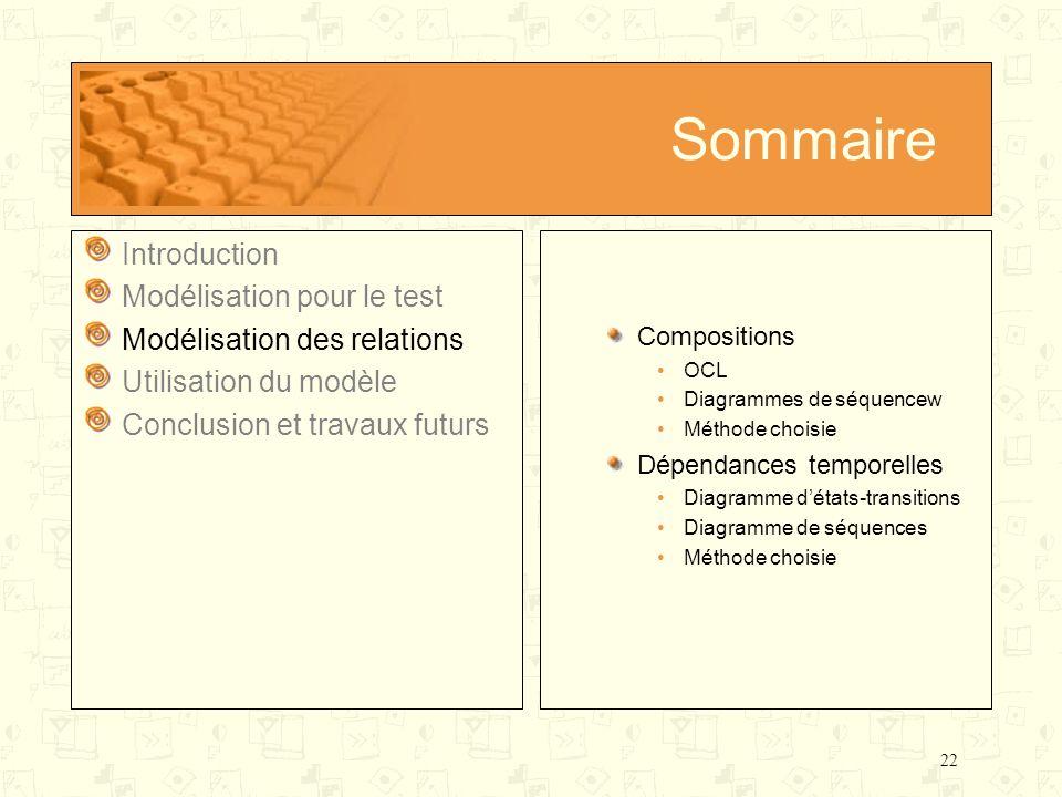 22 Sommaire Introduction Modélisation pour le test Modélisation des relations Utilisation du modèle Conclusion et travaux futurs Compositions OCL Diag