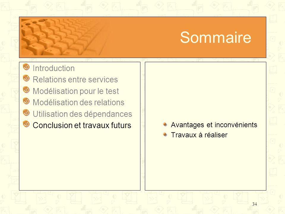 34 Sommaire Introduction Relations entre services Modélisation pour le test Modélisation des relations Utilisation des dépendances Conclusion et trava