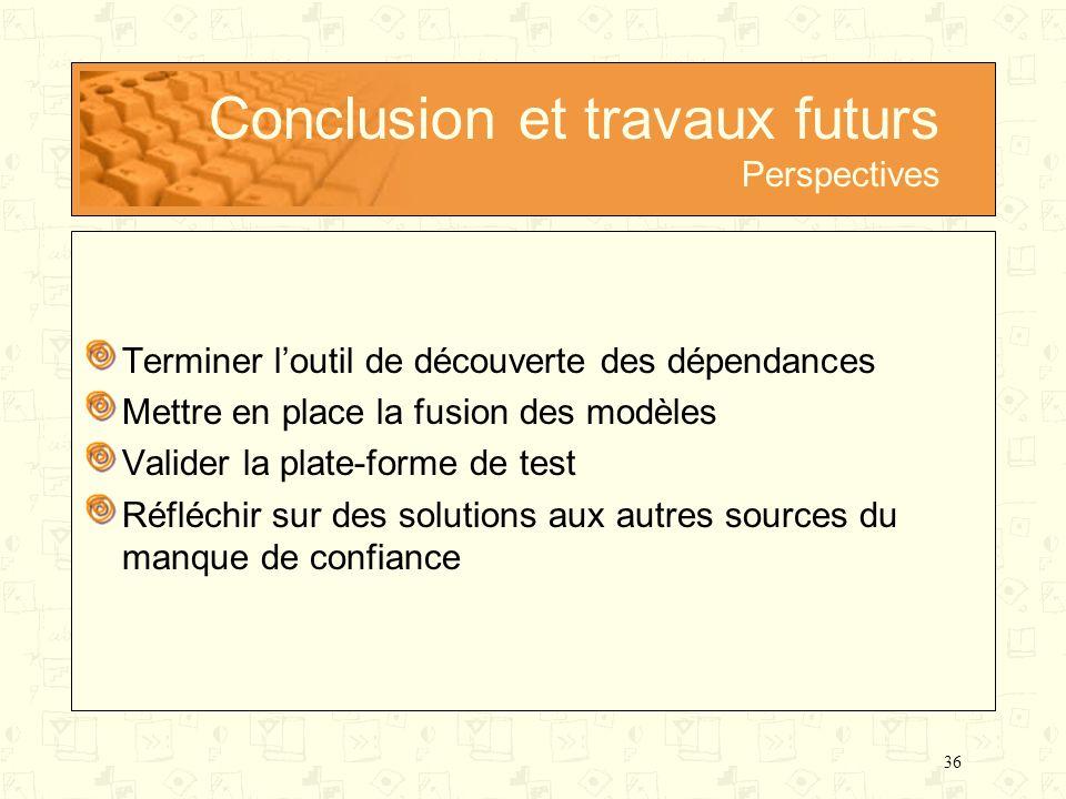 36 Conclusion et travaux futurs Perspectives Terminer loutil de découverte des dépendances Mettre en place la fusion des modèles Valider la plate-form