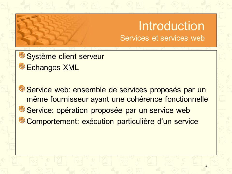 4 Introduction Services et services web Système client serveur Echanges XML Service web: ensemble de services proposés par un même fournisseur ayant u