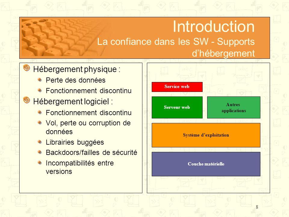 8 Introduction La confiance dans les SW - Supports dhébergement Hébergement physique : Perte des données Fonctionnement discontinu Hébergement logicie