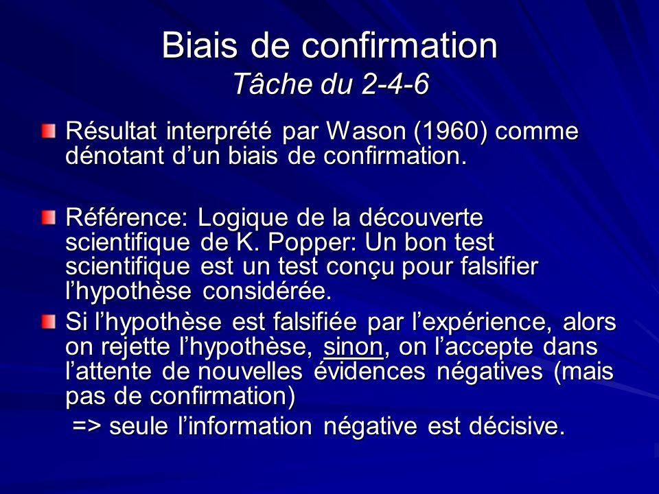 Biais de confirmation Tâche du 2-4-6 Résultat interprété par Wason (1960) comme dénotant dun biais de confirmation. Référence: Logique de la découvert