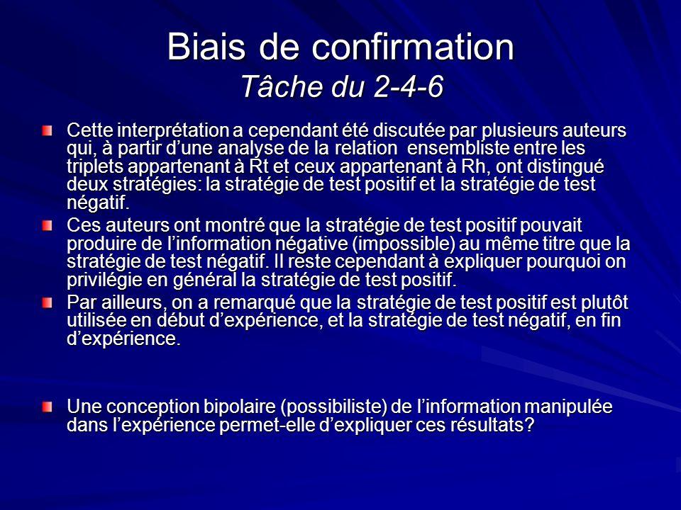 Biais de confirmation Tâche du 2-4-6 Cette interprétation a cependant été discutée par plusieurs auteurs qui, à partir dune analyse de la relation ens
