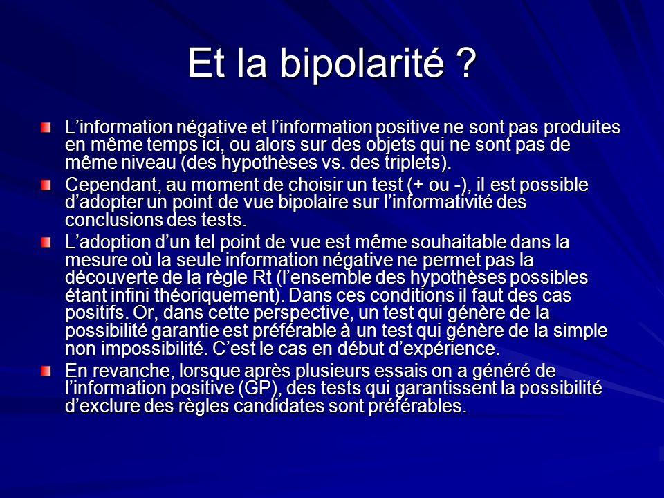 Et la bipolarité ? Linformation négative et linformation positive ne sont pas produites en même temps ici, ou alors sur des objets qui ne sont pas de