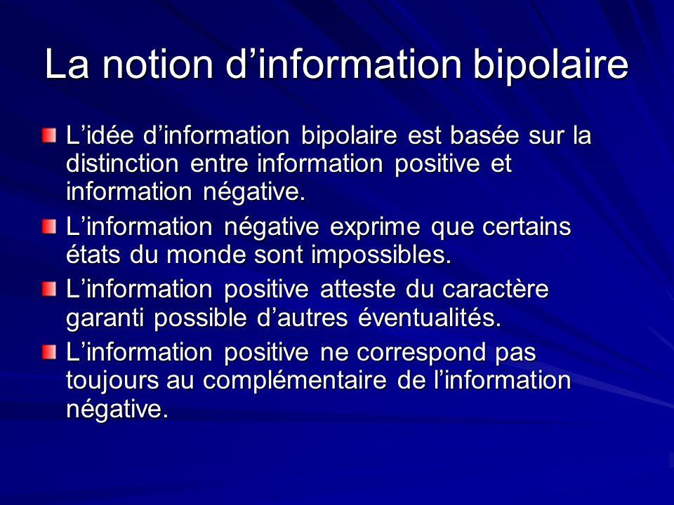La notion dinformation bipolaire Lidée dinformation bipolaire est basée sur la distinction entre information positive et information négative. Linform