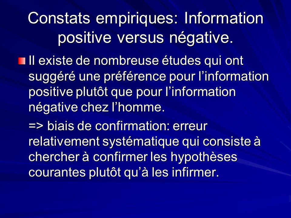 Constats empiriques: Information positive versus négative. Il existe de nombreuse études qui ont suggéré une préférence pour linformation positive plu