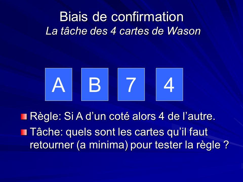 Biais de confirmation La tâche des 4 cartes de Wason AB74 Règle: Si A dun coté alors 4 de lautre. Tâche: quels sont les cartes quil faut retourner (a