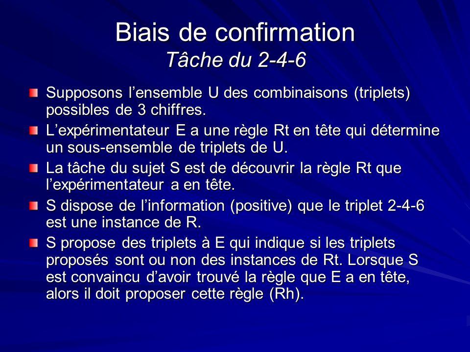 Biais de confirmation Tâche du 2-4-6 Supposons lensemble U des combinaisons (triplets) possibles de 3 chiffres. Lexpérimentateur E a une règle Rt en t