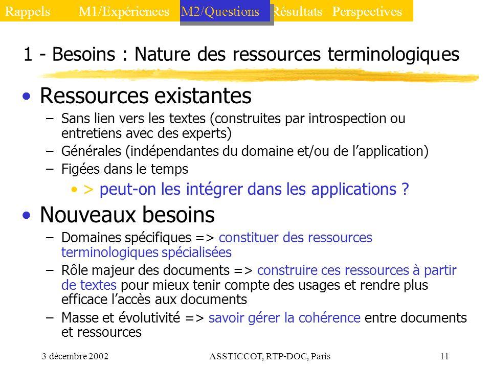 3 décembre 2002ASSTICCOT, RTP-DOC, Paris11 1 - Besoins : Nature des ressources terminologiques Ressources existantes –Sans lien vers les textes (const