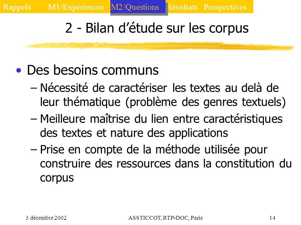 3 décembre 2002ASSTICCOT, RTP-DOC, Paris14 2 - Bilan détude sur les corpus Des besoins communs –Nécessité de caractériser les textes au delà de leur t