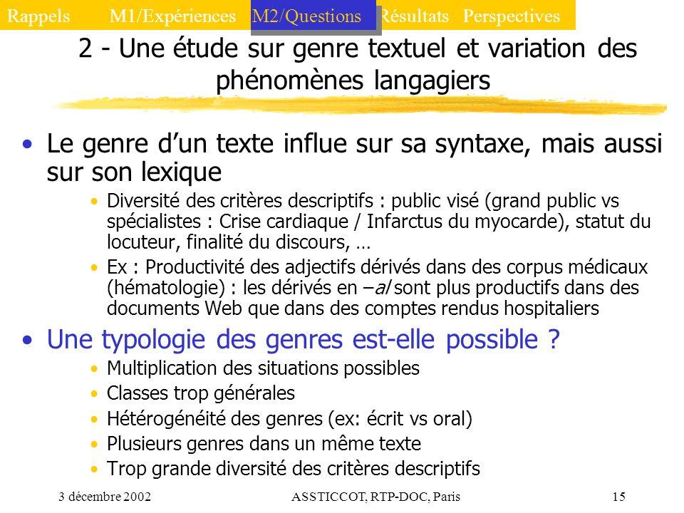 3 décembre 2002ASSTICCOT, RTP-DOC, Paris15 2 - Une étude sur genre textuel et variation des phénomènes langagiers Le genre dun texte influe sur sa syn