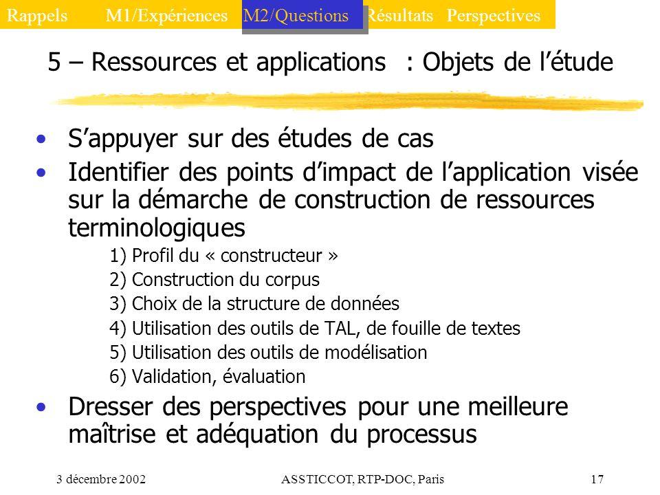3 décembre 2002ASSTICCOT, RTP-DOC, Paris17 5 – Ressources et applications : Objets de létude Sappuyer sur des études de cas Identifier des points dimp