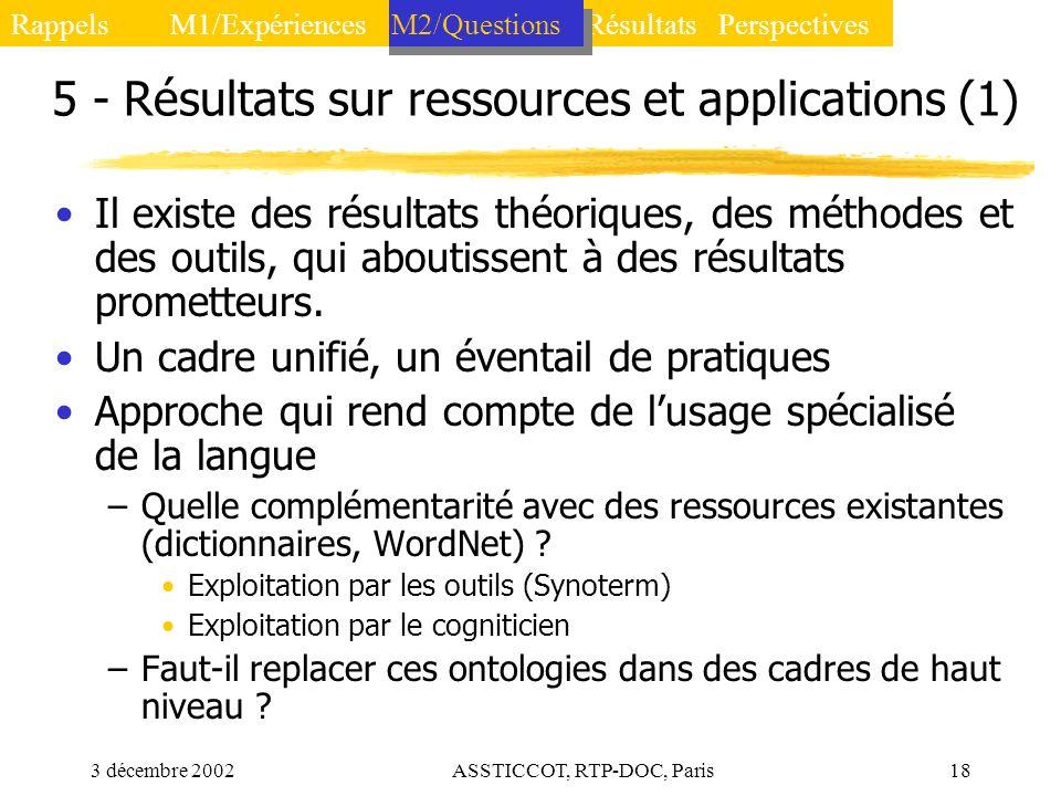 3 décembre 2002ASSTICCOT, RTP-DOC, Paris18 5 - Résultats sur ressources et applications (1) Il existe des résultats théoriques, des méthodes et des ou