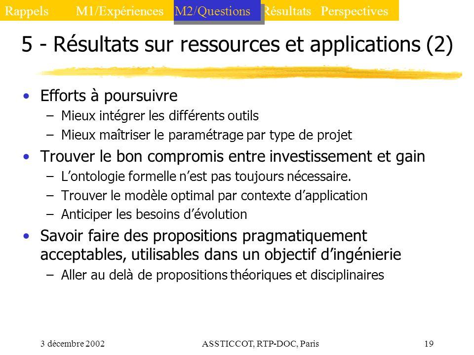 3 décembre 2002ASSTICCOT, RTP-DOC, Paris19 5 - Résultats sur ressources et applications (2) Efforts à poursuivre –Mieux intégrer les différents outils