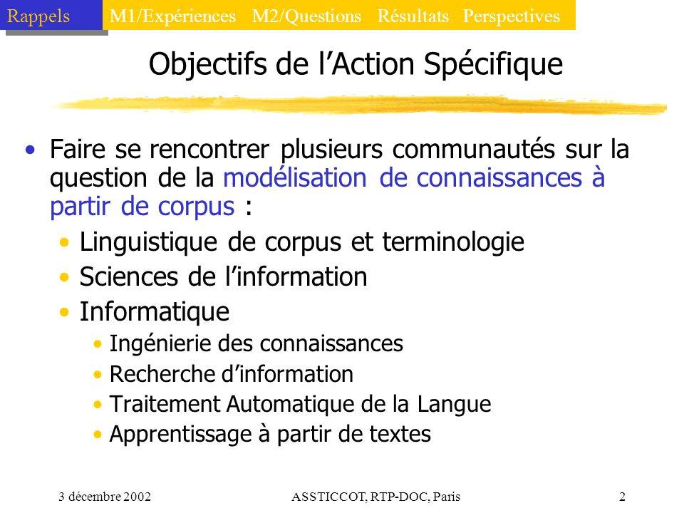 3 décembre 2002ASSTICCOT, RTP-DOC, Paris2 Objectifs de lAction Spécifique Faire se rencontrer plusieurs communautés sur la question de la modélisation