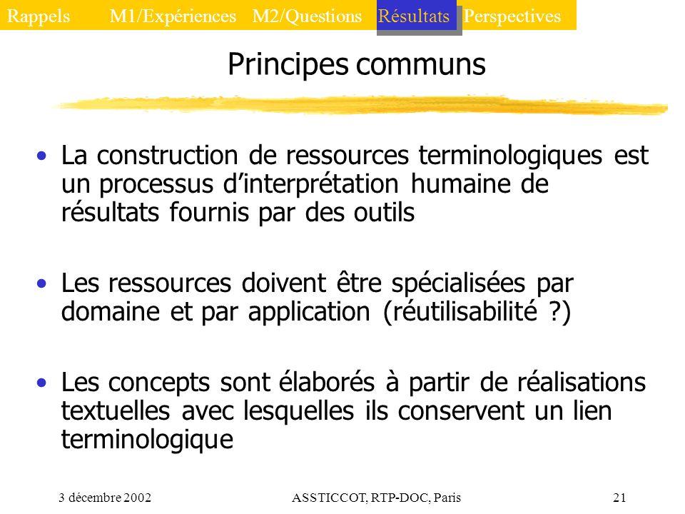 3 décembre 2002ASSTICCOT, RTP-DOC, Paris21 Principes communs La construction de ressources terminologiques est un processus dinterprétation humaine de