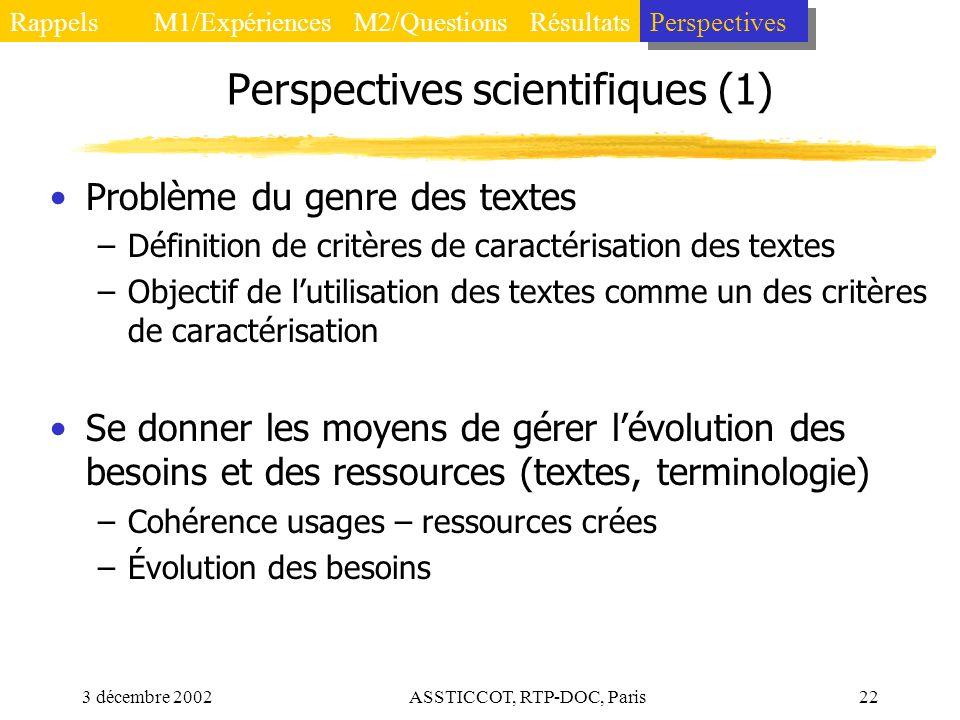 3 décembre 2002ASSTICCOT, RTP-DOC, Paris22 Perspectives scientifiques (1) Problème du genre des textes –Définition de critères de caractérisation des