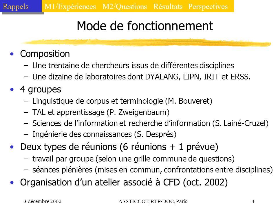 3 décembre 2002ASSTICCOT, RTP-DOC, Paris4 Mode de fonctionnement Composition –Une trentaine de chercheurs issus de différentes disciplines –Une dizain