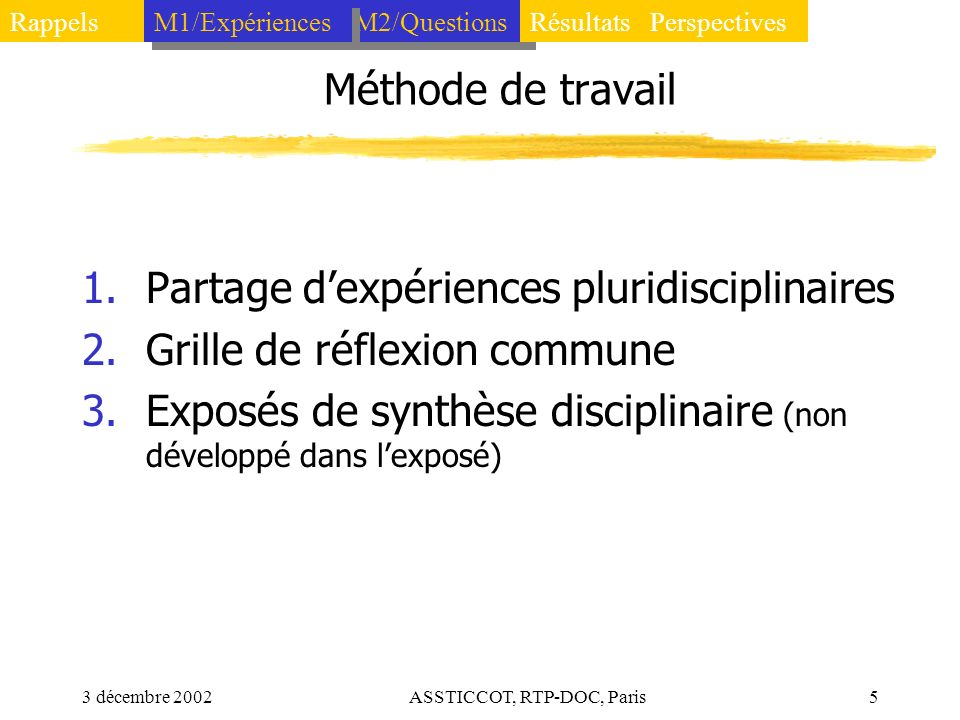 3 décembre 2002ASSTICCOT, RTP-DOC, Paris5 Méthode de travail 1.Partage dexpériences pluridisciplinaires 2.Grille de réflexion commune 3.Exposés de syn