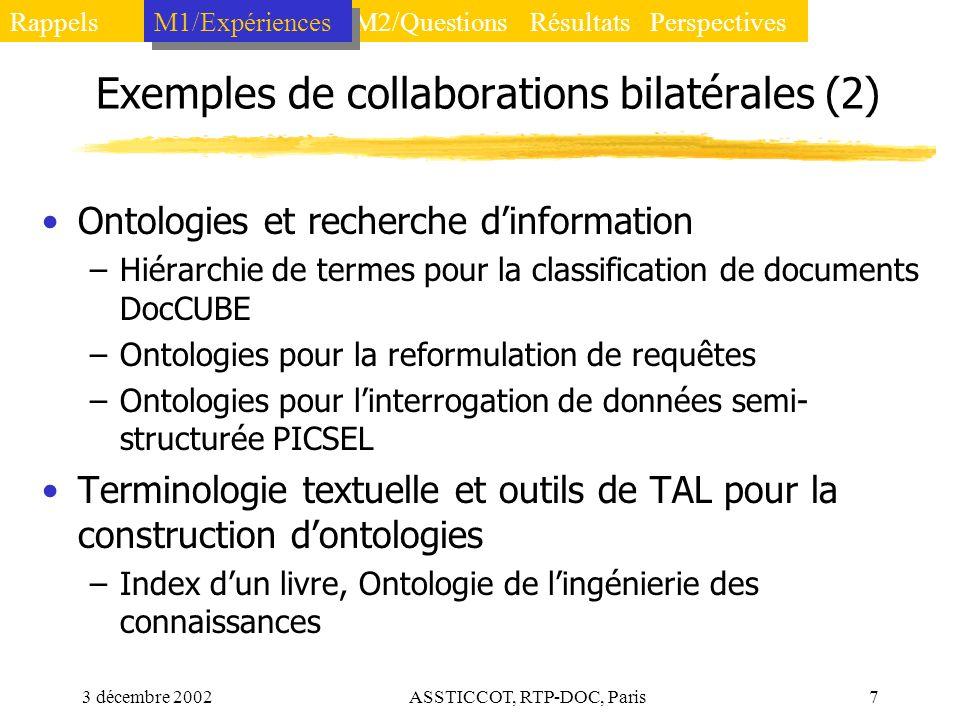 3 décembre 2002ASSTICCOT, RTP-DOC, Paris7 Exemples de collaborations bilatérales (2) Ontologies et recherche dinformation –Hiérarchie de termes pour l