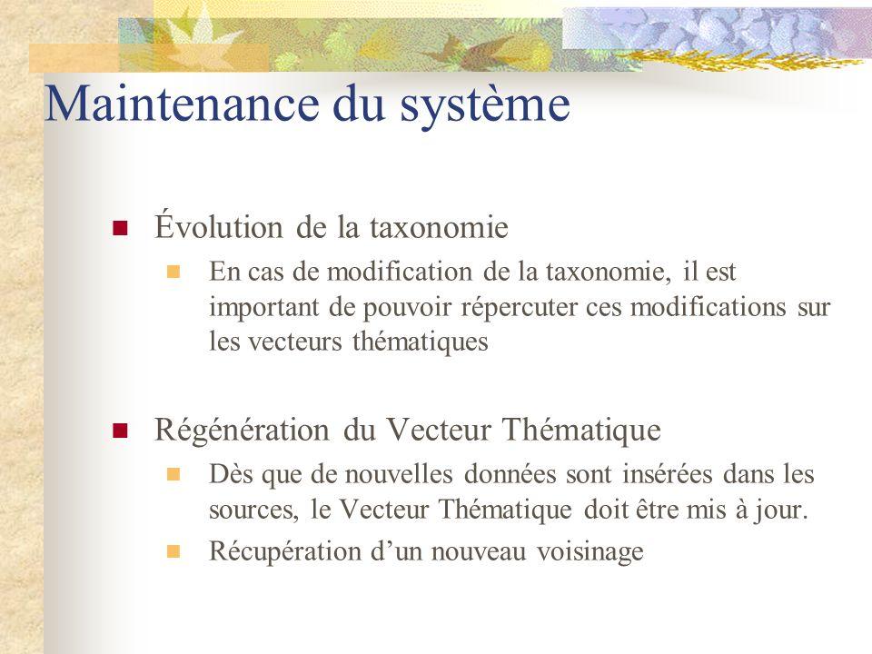 Maintenance du système Évolution de la taxonomie En cas de modification de la taxonomie, il est important de pouvoir répercuter ces modifications sur