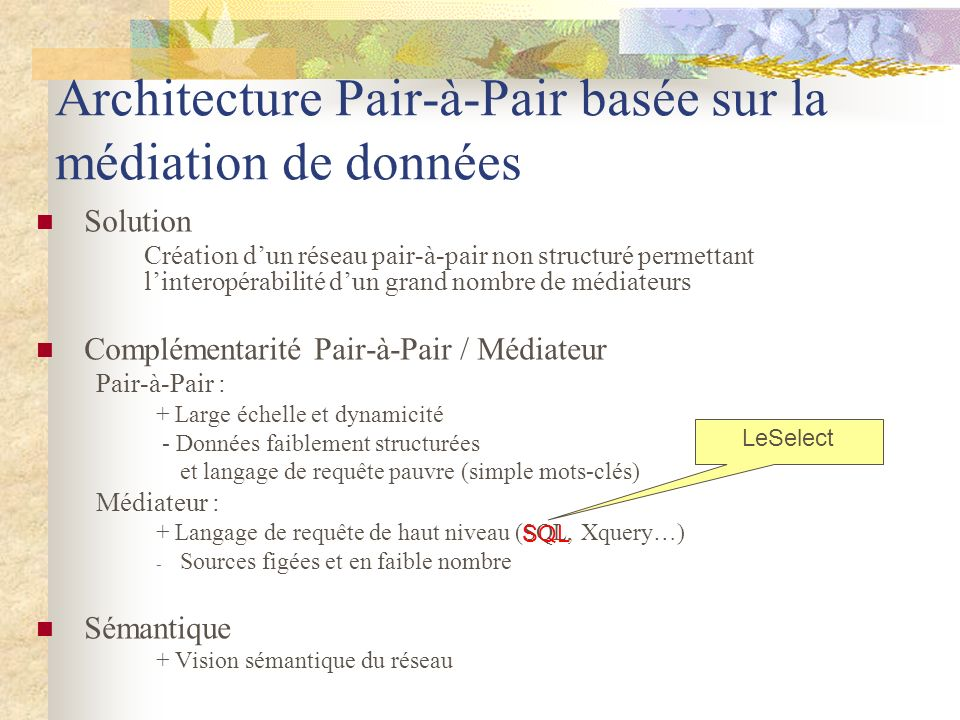 Architecture Pair-à-Pair basée sur la médiation de données Solution Création dun réseau pair-à-pair non structuré permettant linteropérabilité dun gra