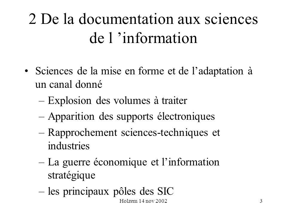 Holzem 14 nov 20023 2 De la documentation aux sciences de l information Sciences de la mise en forme et de ladaptation à un canal donné –Explosion des
