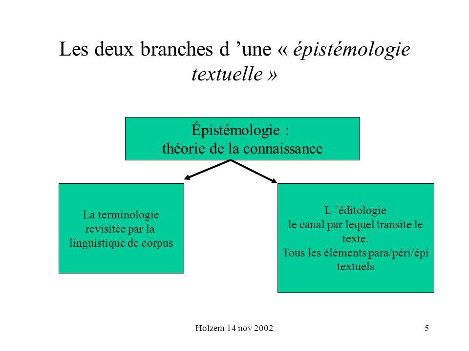 Holzem 14 nov 20025 Les deux branches d une « épistémologie textuelle » Épistémologie : théorie de la connaissance La terminologie revisitée par la li