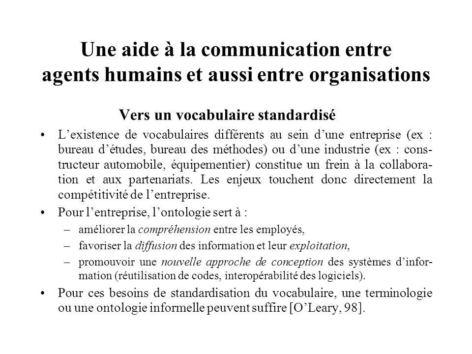 Une aide à la communication entre agents humains et aussi entre organisations Vers un vocabulaire standardisé Lexistence de vocabulaires différents au