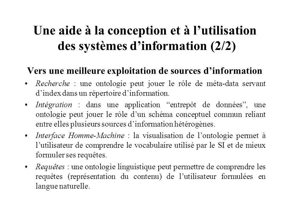 Une aide à la conception et à lutilisation des systèmes dinformation (2/2) Vers une meilleure exploitation de sources dinformation Recherche : une ont