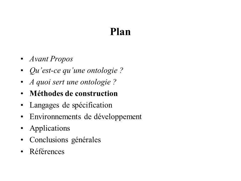 Plan Avant Propos Quest-ce quune ontologie ? A quoi sert une ontologie ? Méthodes de construction Langages de spécification Environnements de développ