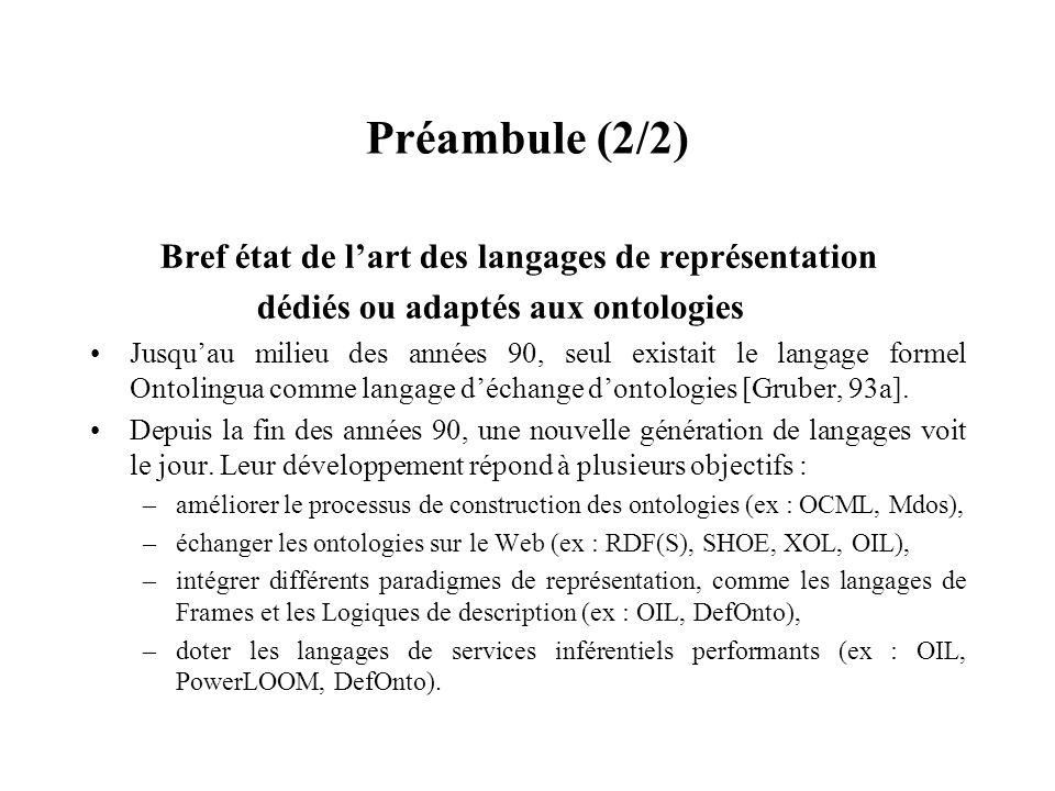 Préambule (2/2) Bref état de lart des langages de représentation dédiés ou adaptés aux ontologies Jusquau milieu des années 90, seul existait le langa