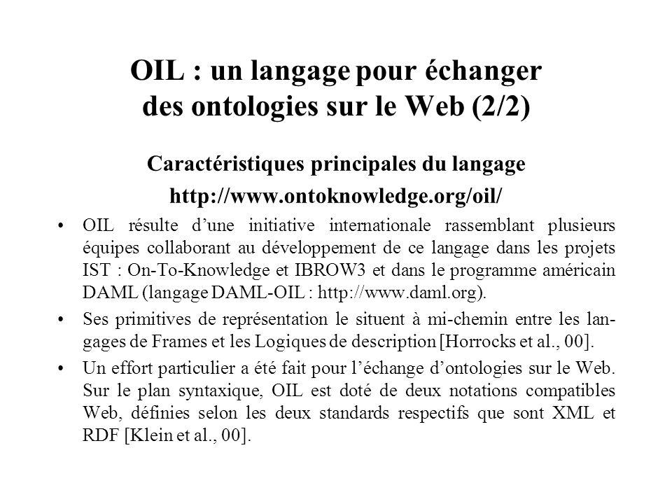 OIL : un langage pour échanger des ontologies sur le Web (2/2) Caractéristiques principales du langage http://www.ontoknowledge.org/oil/ OIL résulte d