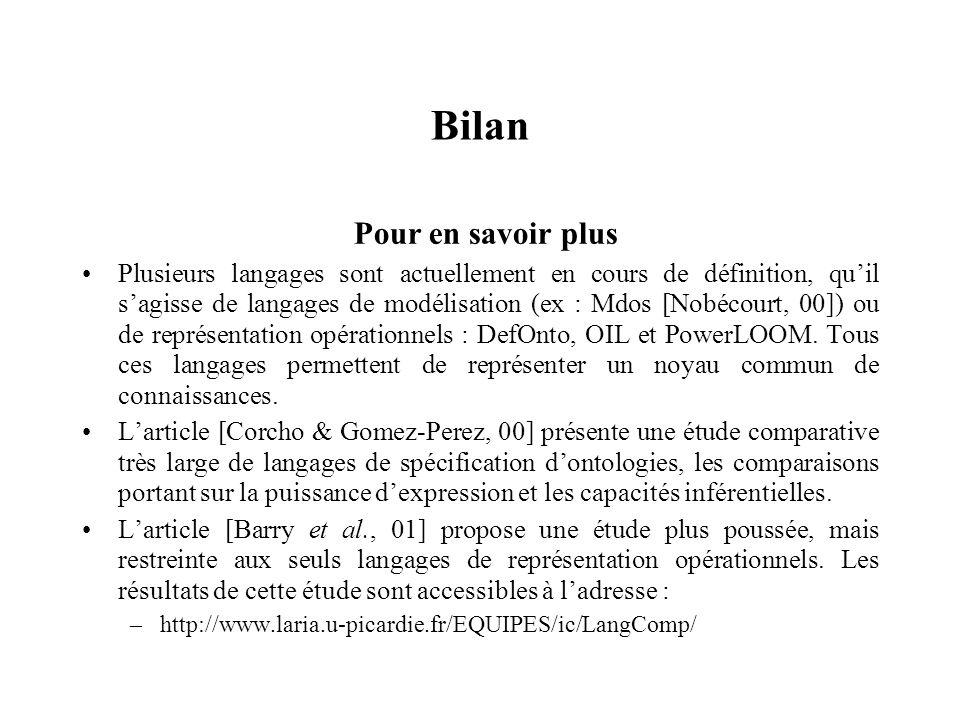 Bilan Pour en savoir plus Plusieurs langages sont actuellement en cours de définition, quil sagisse de langages de modélisation (ex : Mdos [Nobécourt,