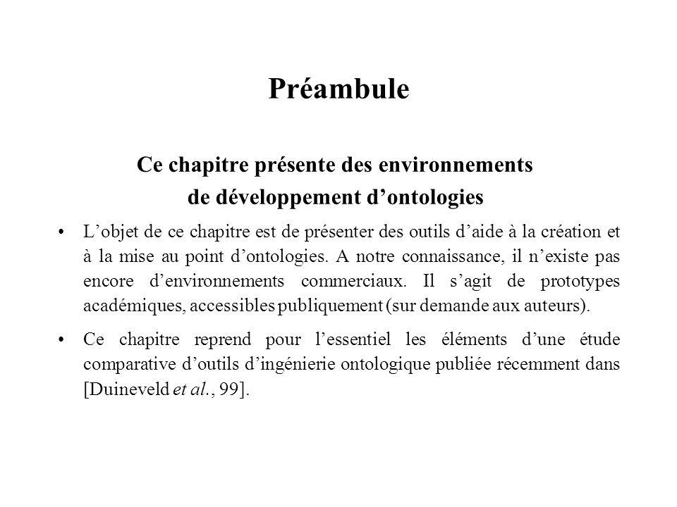 Préambule Ce chapitre présente des environnements de développement dontologies Lobjet de ce chapitre est de présenter des outils daide à la création e