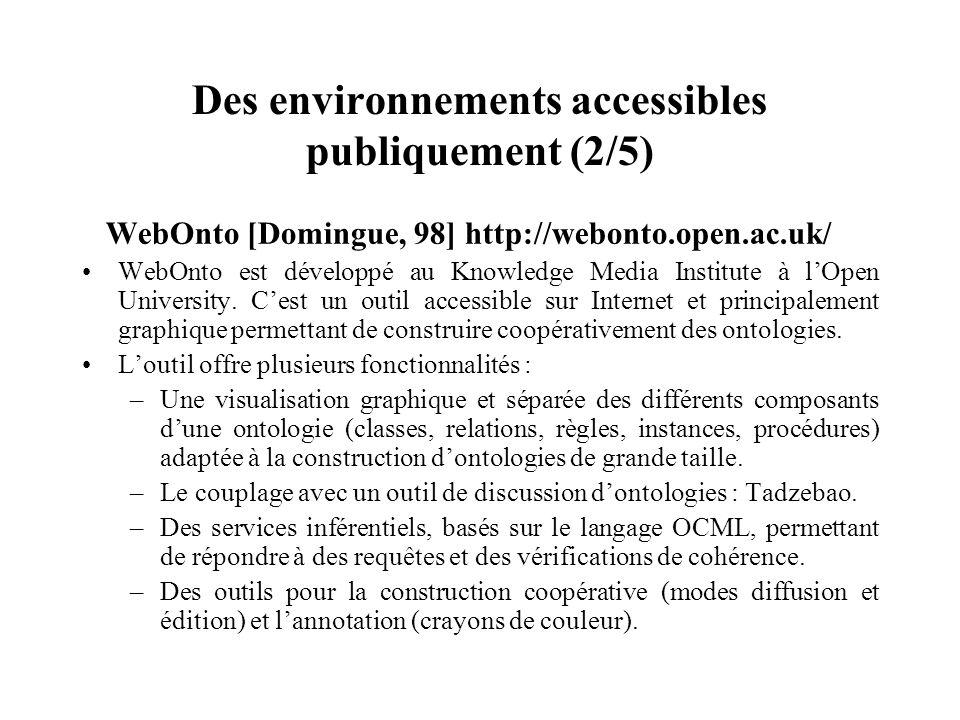 Des environnements accessibles publiquement (2/5) WebOnto [Domingue, 98] http://webonto.open.ac.uk/ WebOnto est développé au Knowledge Media Institute