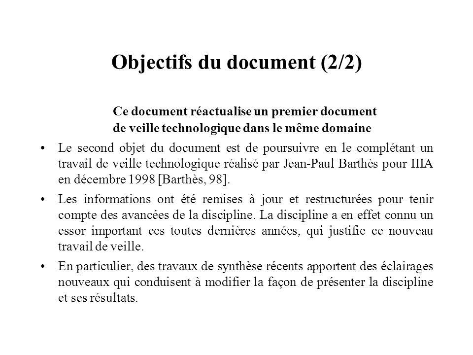 Objectifs du document (2/2) Ce document réactualise un premier document de veille technologique dans le même domaine Le second objet du document est d