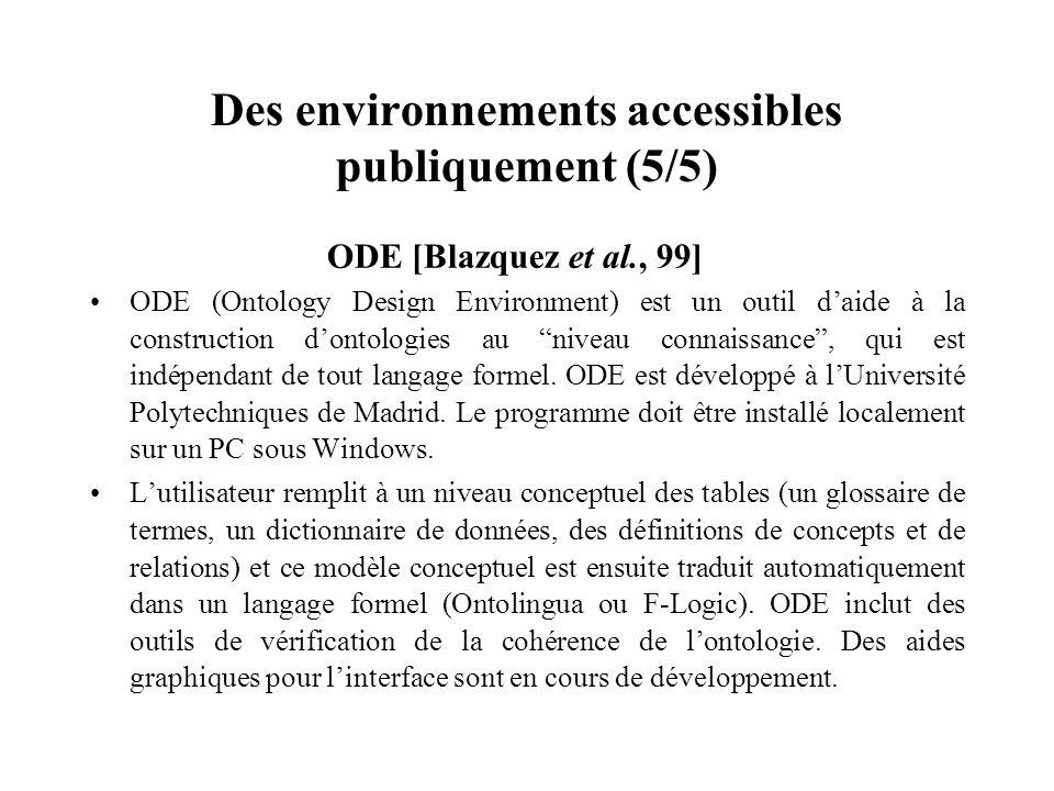 Des environnements accessibles publiquement (5/5) ODE [Blazquez et al., 99] ODE (Ontology Design Environment) est un outil daide à la construction don