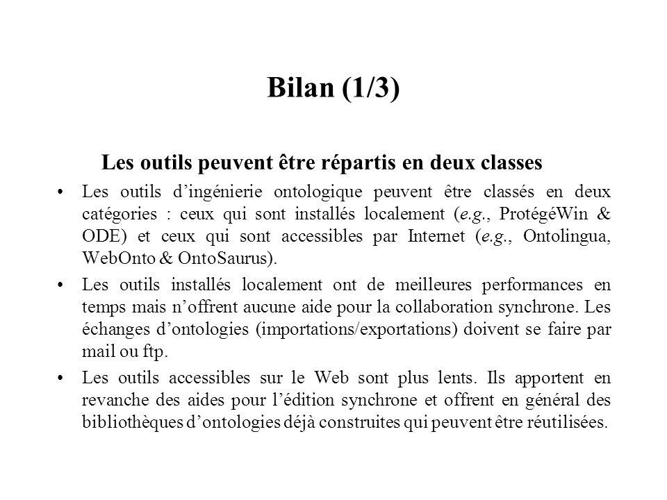 Bilan (1/3) Les outils peuvent être répartis en deux classes Les outils dingénierie ontologique peuvent être classés en deux catégories : ceux qui son