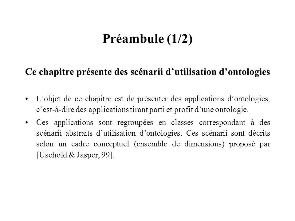 Préambule (1/2) Ce chapitre présente des scénarii dutilisation dontologies Lobjet de ce chapitre est de présenter des applications dontologies, cest-à