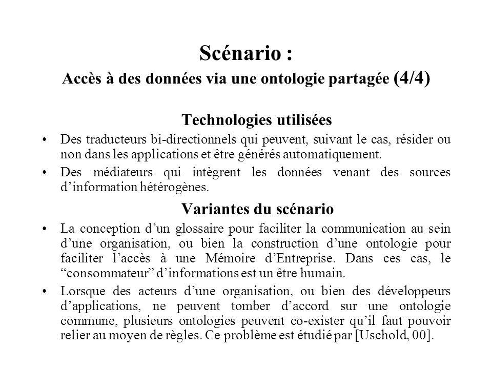 Scénario : Accès à des données via une ontologie partagée (4/4) Technologies utilisées Des traducteurs bi-directionnels qui peuvent, suivant le cas, r