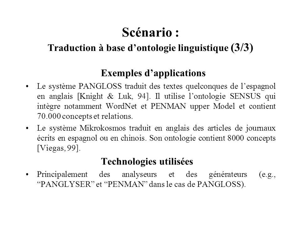 Scénario : Traduction à base dontologie linguistique (3/3) Exemples dapplications Le système PANGLOSS traduit des textes quelconques de lespagnol en a