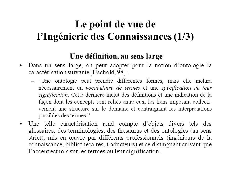Le point de vue de lIngénierie des Connaissances (2/3) Une définition, au sens strict Les ontologies de lIA et de lIngénierie des Connaissances émanent du projet ARPA Knowledge Sharing Effort (1991).