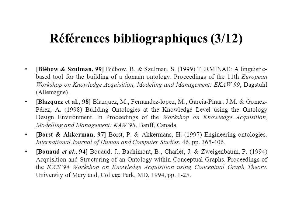Références bibliographiques (3/12) [Biébow & Szulman, 99] Biébow, B. & Szulman, S. (1999) TERMINAE: A linguistic- based tool for the building of a dom