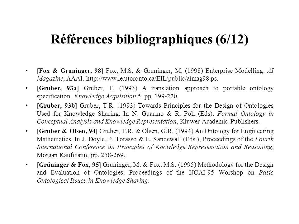 Références bibliographiques (6/12) [Fox & Gruninger, 98] Fox, M.S. & Gruninger, M. (1998) Enterprise Modelling. AI Magazine, AAAI. http://www.ie.utoro