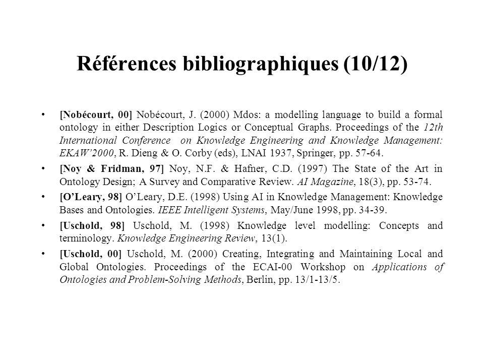 Références bibliographiques (10/12) [Nobécourt, 00] Nobécourt, J. (2000) Mdos: a modelling language to build a formal ontology in either Description L