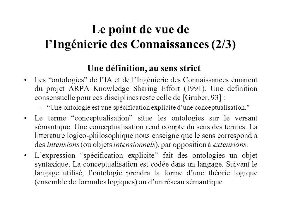 OCML : un langage facilitant lopérationnalisation des ontologies (1/2) Exemple de représentations (def-class père (parents, homme) ?p :iff-def (or (and (parents ?p) (a_pour_sexe ?p masculin)) (exists ?e (and (homme ?p) (a_pour_enfant ?p ?e) (personne ?e))))) (def-relation a_pour_père (?p ?h) :constraint (and (personne ?p) (homme ?h)))